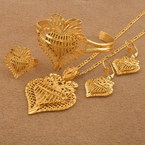 Image 4 - Anniyo Heart Dubai Jewelry sets Ethiopian Necklaces Earrings Ring Bangle African Gold Color Arab Wedding Bride Dowry #020506