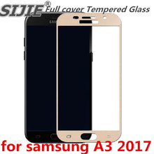 Full cover Tempered Glass for samsung Galaxy A3 2017 A320 A3200 4.7 inch Screen Protective Gold White Blue Black frame all edge защитное стекло interstep full screen cover 0 3мм sams a3 2017 a320 gold
