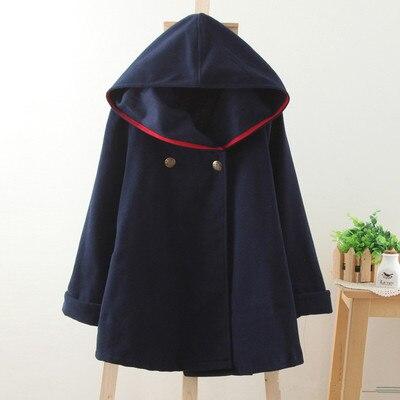 Новинка зимы, винтажный шерстяной плащ в консервативном стиле, матросское темно-синее пальто, верхняя одежда, Женская свободная красная однотонная Осенняя накидка - Цвет: Синий