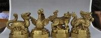 """8 """"chiński folk fengshui mosiądz 4 bestie Cztery święte zwierząt mitycznych bóg statua w Posągi i rzeźby od Dom i ogród na"""