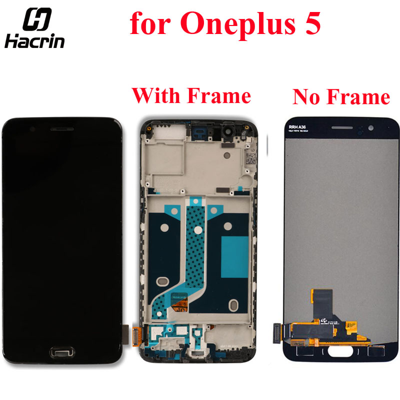 for Oneplus 5 LCD Screen Replacement 100% Tested LCD Display+Touch Screen With Frame for Oneplus 5 Five 5.5inch Mobile Phone