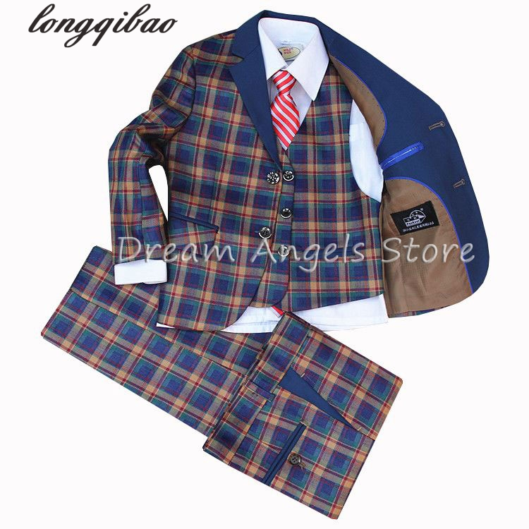 2017 High quality Suit lattice style suits boy Suit sets Slim Fit Tuxedos boy show ( jacket + pants+Waistcoat+bow tie+Neckties ) kimocat boy and girl high quality spring autumn children s cowboy suit version of the big boy cherry embroidery jeans two suits