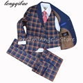 2017 High quality Suit lattice style suits boy Suit sets Slim Fit Tuxedos boy show ( jacket + pants+Waistcoat+bow tie+Neckties )