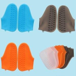 Image 2 - 재사용 가능한 실리콘 신발 커버 방수 비 슬립 비 양말 신발 프로텍터 성인/어린이를위한 탄성 실내 보호