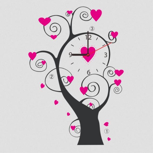 Wall Paper Removable Love Heart Tree Clock Wall Sticker Vinyl Decal Art Mural Bedroom Decor New  sc 1 st  AliExpress.com & Wall Paper Removable Love Heart Tree Clock Wall Sticker Vinyl Decal ...