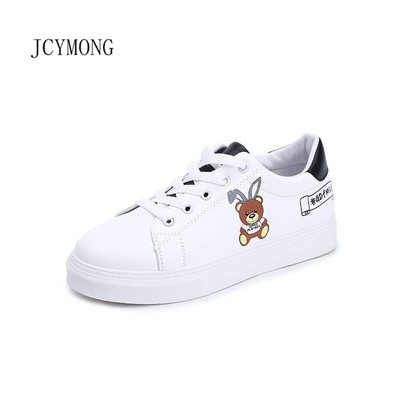 JCYMONG PU Leather Women White Sneakers 2018 New Fashion Animal Print Ladies Girl Flat Shoes Lace UP Casual Women Footwear