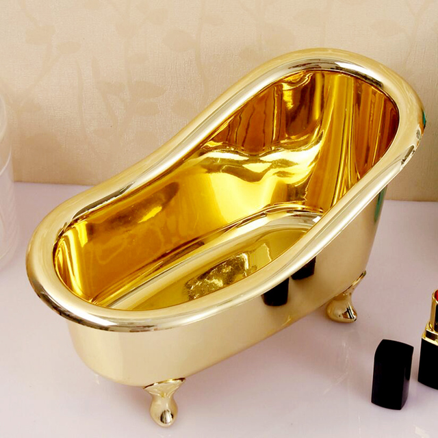 Soap Storage Box Gold Bathroom Accessories Mini Bathtub Storage Box