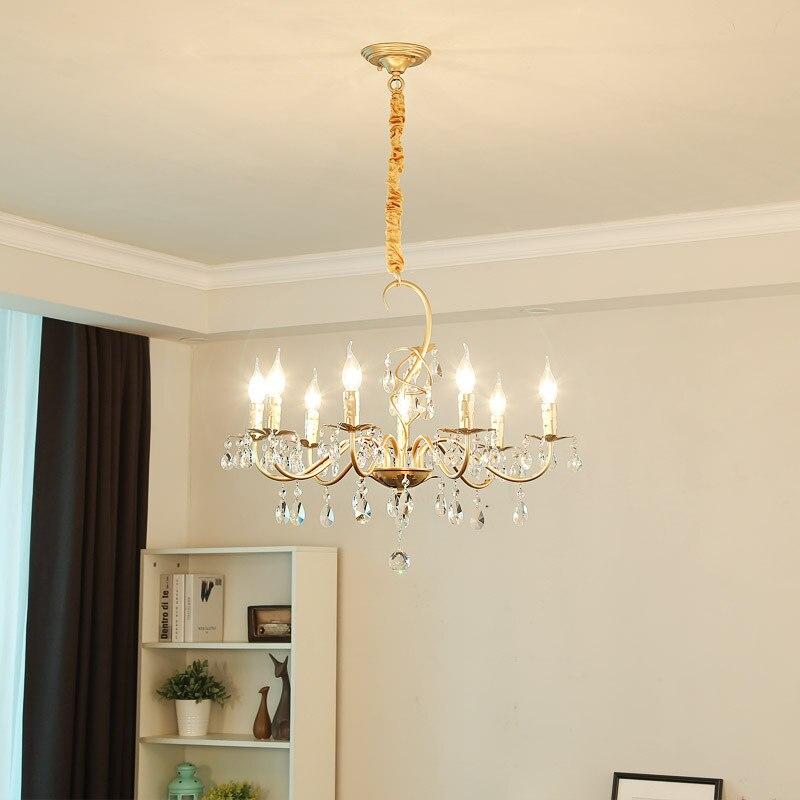 European chandelier living room zinc alloy crystal retro bedroom restaurant duplex building luxury lights.