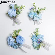 JaneVini Blu Fiore Allocchiello Degli Uomini Groomsmen Artificiale Rosa Bouquet di fiori Da Sposa Damigella Donore del Fiore della Mano Set Spilla Boutonnieres
