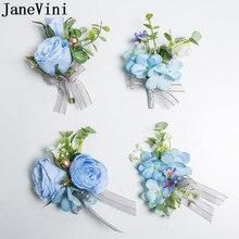 JaneVini כחול פרח Boutonniere גברים השושבינים מלאכותי עלה וזר פרחים לחתונה שושבינה יד פרח סט סיכת פרחי דש