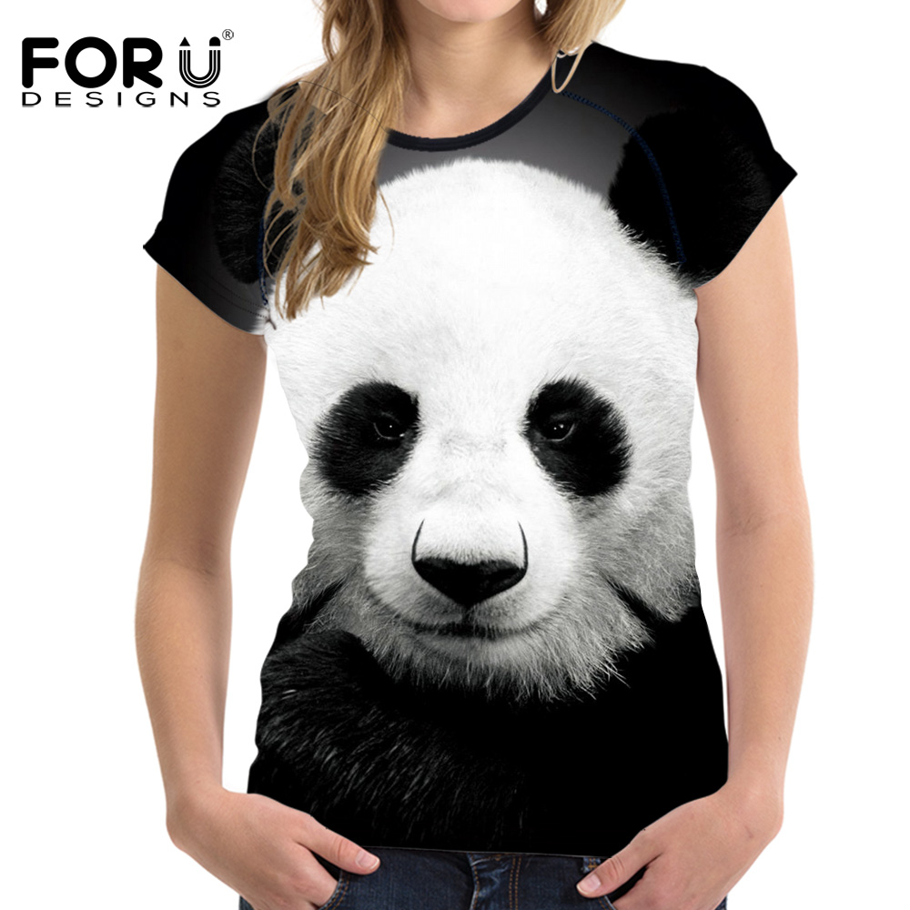 FORUDESIGNS Panda Printing Women Tops Cool T Shirt 2017 Summer Woman Unicorn Shirt For Ladies black&white Girls Tee Top Clothes