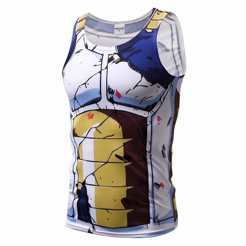 2017 nuevos hombres camiseta de la bola Z del Dragón Goku Vegeta Bodybuilding camisa estupenda de Saiyan verano ropa Homme Dragonball camiseta