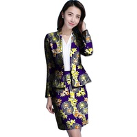 Africa Women Clothes Fashion Print Suit Jacket and Short Skirt Woman Party Collar Short Skirt African Ladies Costume Customize