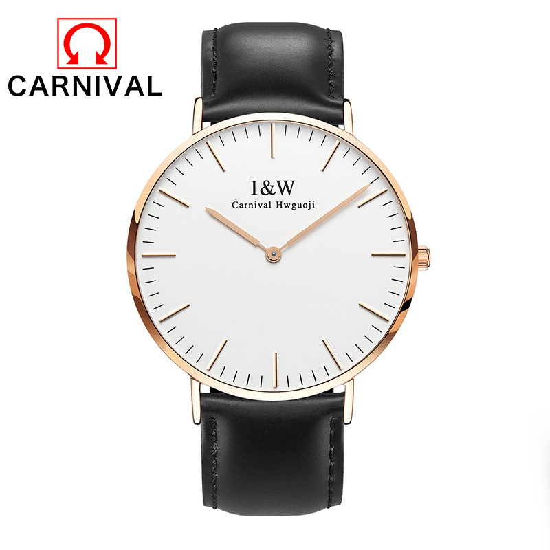 2017 Carnival Business Watch Quartz Waterproof Clock Men Fashion Casual Leather Watches Top Brand Simple Style Wristwatch Bell смартфон lenovo ideaphone vibe z2 dual sim gray