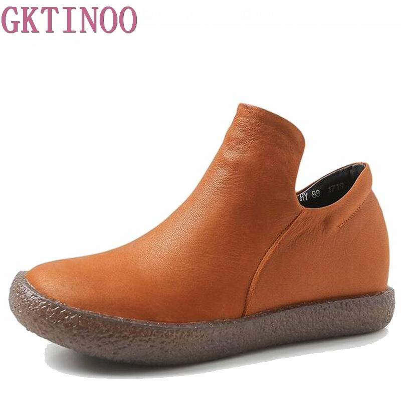 Women Winter Boots New Arrival Genuine Leather Snow Boots short Plush Warm Ankle Boots Casual Flats Shoes female winter shoes