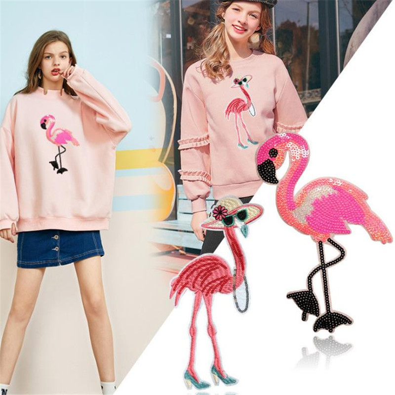 T shirt Women iron on patch sequins 25cm flamingo deal with it biker patches for clothing stickers 3d t shirt mens free shipping