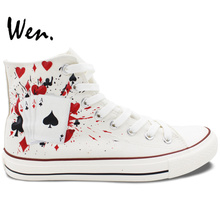 Wen Hand Painted Shoes Design Custom Poker Dice White High Top Canvas Sneakers for Christmas Gifts