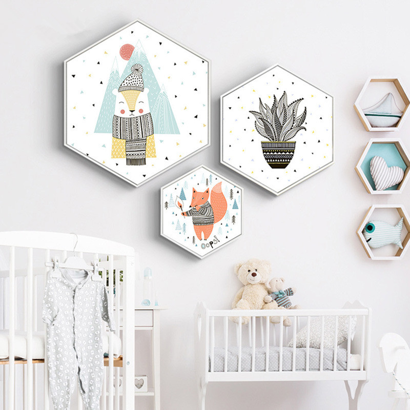 Hexagon moderne minimalistische decoratieve schilderkunst - Huisdecoratie