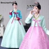 2019 new high quality traditional korean hanbok dress female korean folk stage dance costume korea traditional costume party