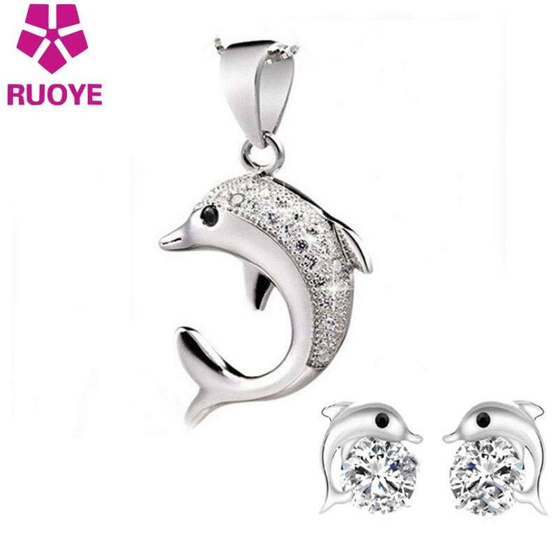 RUOYE 1 Set Brand Fashion Pendant Jewelry Crystal Dolphin Design Women Quality Silver Jewelry New Arrivals