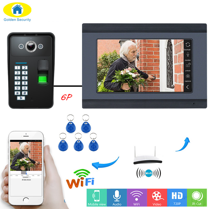 7 Wired Wifi Fingerprint RFID Password Video Door Phone Doorbell Intercom Entry System Kit 1000TVL Outdoor