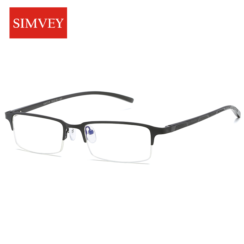 Simvey Korean Blue Light Glasses Women Men Half Frame Computer Glasses Metal Frame Blue Light Blocking Gaming Glasses