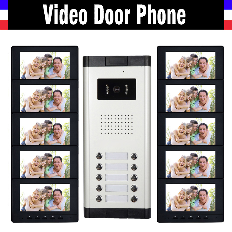 10 Units Apartment Video Intercom System 7 Inch Monitor Video Door Phone Intercom System Wired  Home Video Doorbell Kit