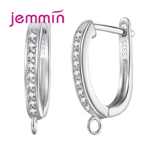 Geometric U Shape Fine Jewelry Findings Earring Components 925 Sterling Silver Crystal Hoop Earrings DIY Accessory cheap Jemmin Third Party Appraisal 925 Sterling Zircon Hoop Earring Findings Women TRENDY None