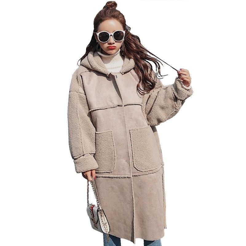 2018 Kaki Agneau Cheveux À Et Marée Mode Capuchon Épais Grande Manteau Femmes Veste D'hiver Nouvelles De Poche Long px8Tgqrwp0