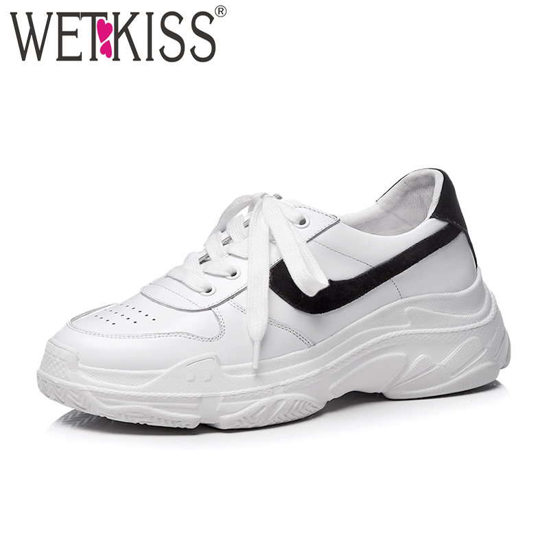 WETKISS Clunky Shoes Fashion Casual Dorky Dad Shoes Lace Up White Platform Sneakers Female Shoes 2018 New Round Toe Women Flats instantarts casual women s flats shoes emoji face puzzle pattern ladies lace up sneakers female lightweight mess fashion flats