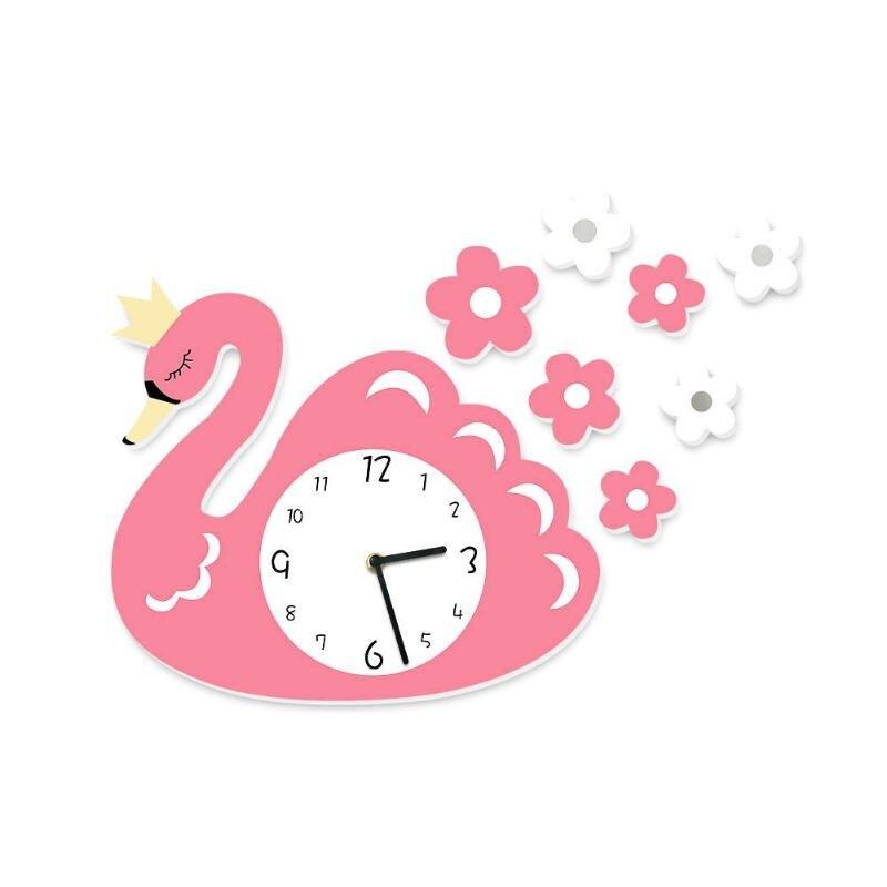 3D DIY Cartoon Swan Cute Children Clock Wall Sticker Bedroom Living Room Decor Kids Room Hanging Watch Decoration