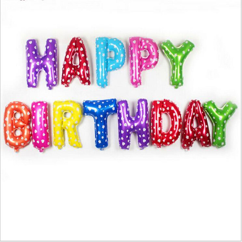 Hot sale13pcs/lot Pink blue Letter Happy Birthday BALLOON aluminum foil balloon baby birthday decoration alphabet helium balloon
