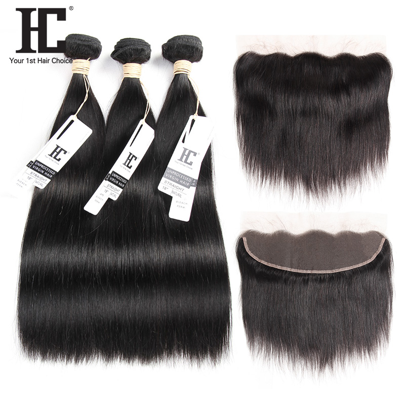 HC 3 Bundles With Frontal Brazilian Straight Human Hair Weave Pre Plucked Lace Frontal Closure With