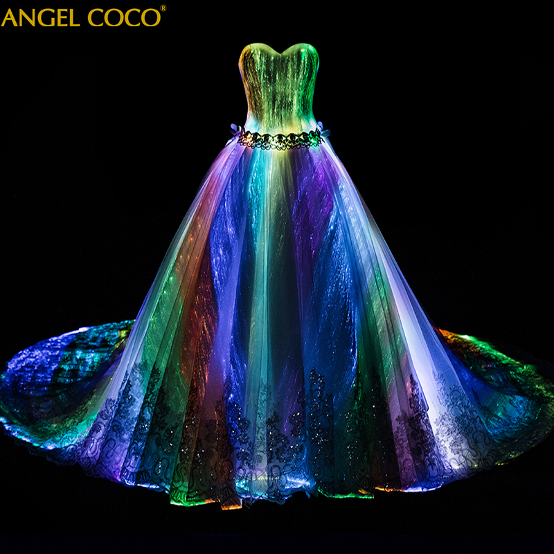 Romantic Customized Night Glow In Dark Luminous Wedding Dress Turkey Annual Dinner 7 Variable Color Model Fashion Runway Show