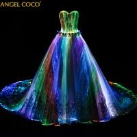 Romantic Customized Night Glow In Dark Luminous Wedding Dress Turkey Annual Dinner 7 Variable Color Model Fashion Runway show