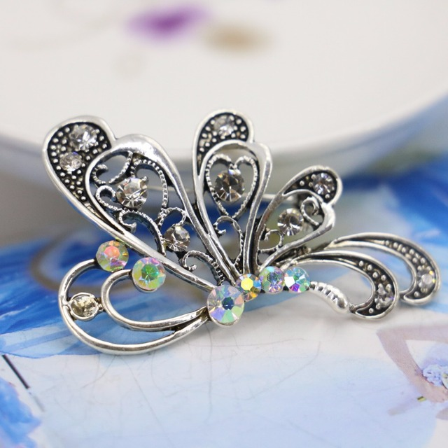 US $3 99  Butterfly Bow Ribbon Rhinestone Brooch bouquet pins diy Breastpin  Brooches Crystal Jewelry making Design Accessories 29x49mm-in Brooches