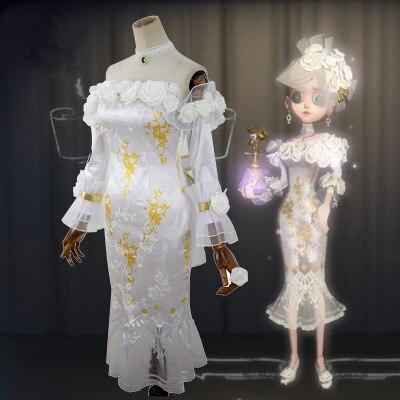 Haute qualité Anime chinois identité V Vera Nair femme Cosplay Costume blanc Rose robe + anneau + boucles d'oreilles + collier + nœud papillon - 2