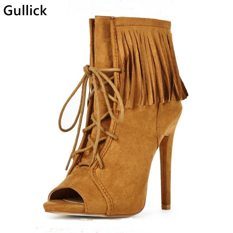 2018 Newest Fashion Fringe Lace Up Stiletto Booties Sexy Brown Suede Ankle Boots Ankle Tassels Strap Peep Toe Woman Short newest design retro peep toe booties