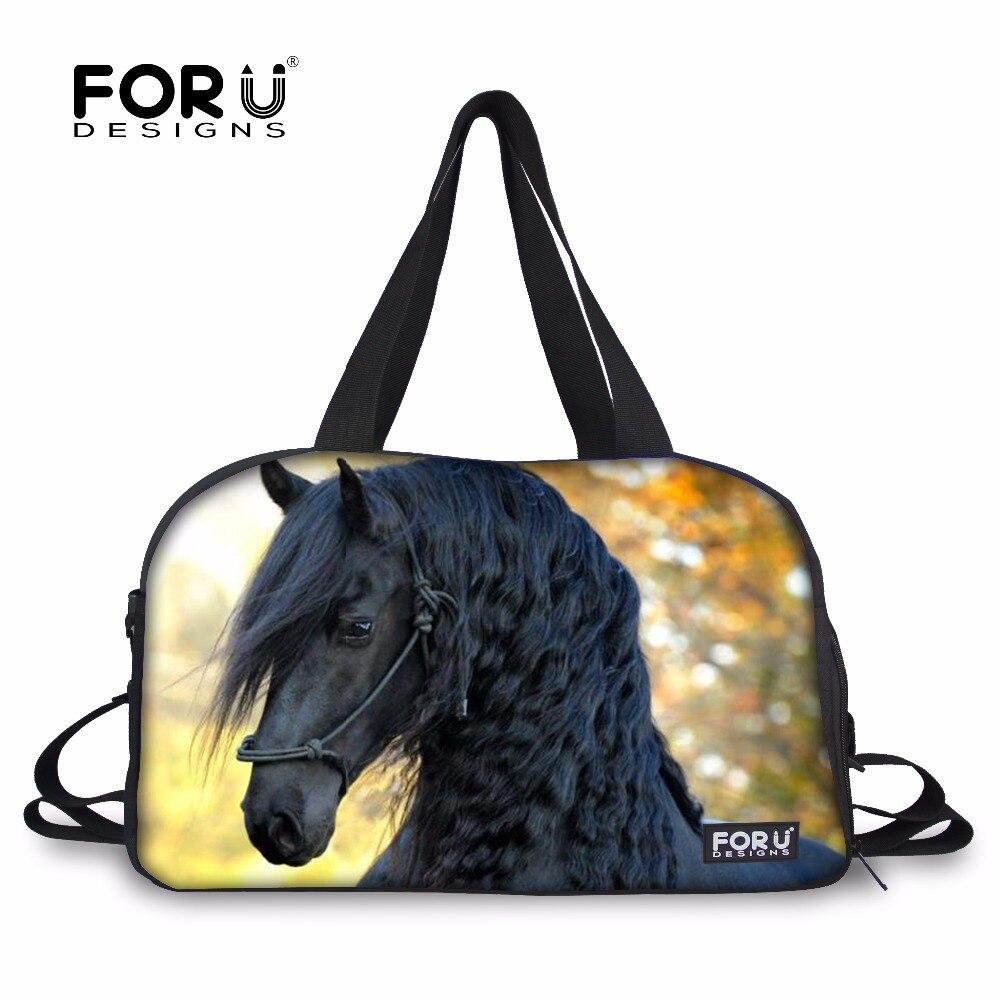 FORUDESIGNS Sports Gym Bag Athletic Training Fitness Shoulder Bag Handsome  Horse Printing Tote Shoes Yoga Mat Bag Large Pocket ee399c07230a9