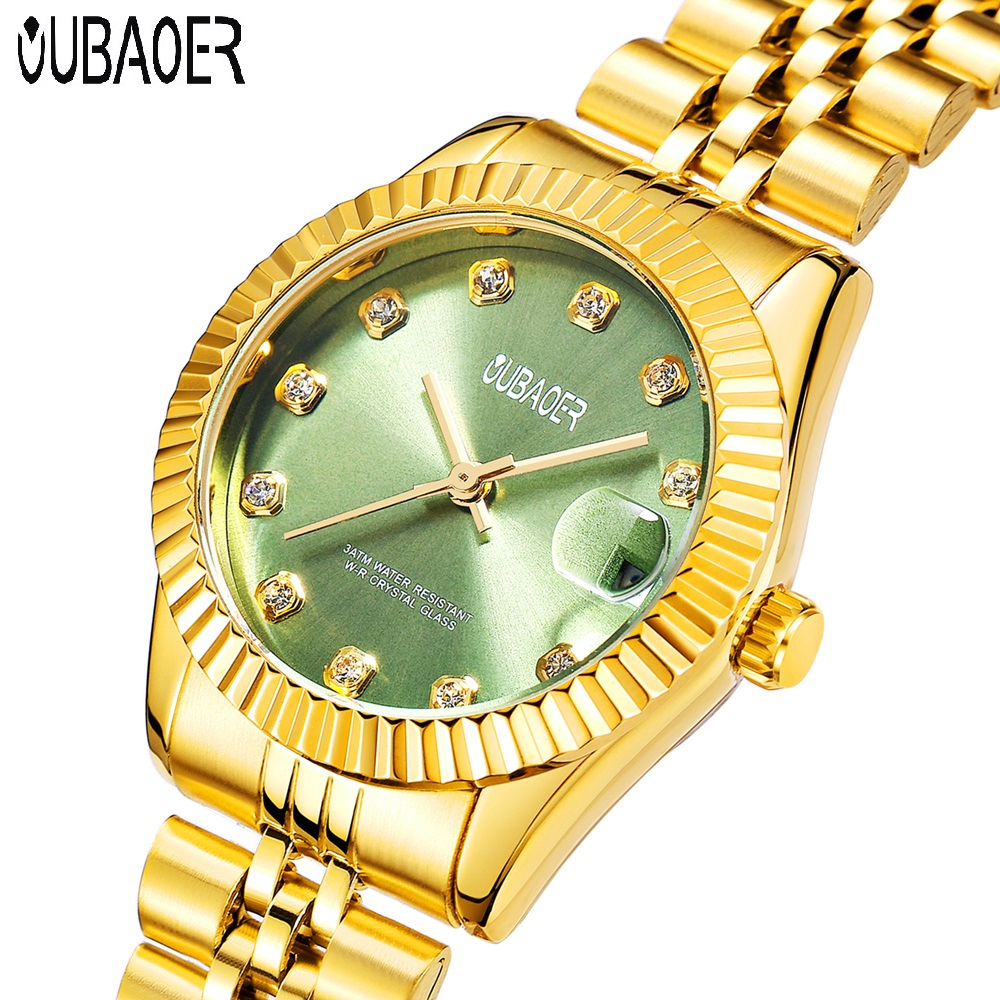 OUBAOER Brand luxury Women Gold Quartz Watch Fashion Diamond dial High Quality Ladies Watches Stainless Steel Band Dress Watches