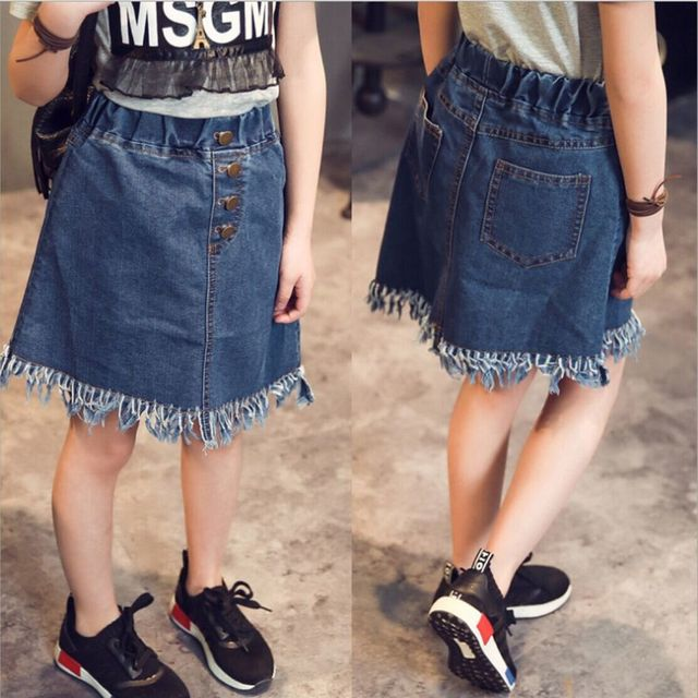 New Style Korean Girl Children's Garment Girl Baby Button Tassels Cowboy All-match Skirt Classic Half-body Short Skirt You