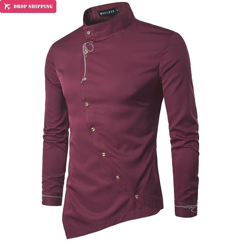 Brand  Fashion Male Shirt Long-Sleeves Tops Personality Oblique Button Irregular High-Grade Mens Dress Shirts Slim Men Shirt
