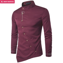 Brand 2017 Fashion Male Shirt Long-Sleeves Tops Personality Oblique Button Irregular High-Grade Mens Dress Shirts Slim Men