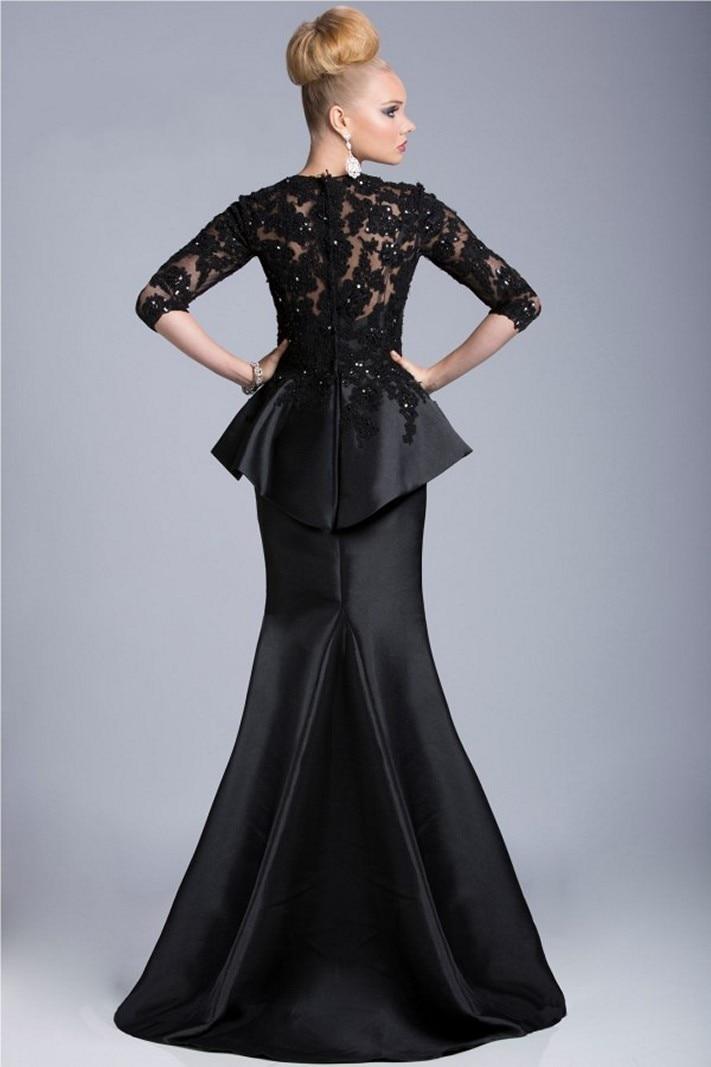 62709c84ebfb 2016 NEW Custom Made Elegant Black Winter Evening Dresses Lace Beads Half  Sleeve Robe De Soiree Long Vestido De Festa Longo