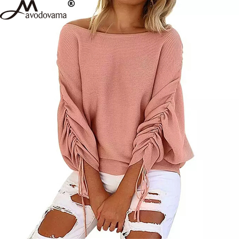 Avodovama M <font><b>2018</b></font> Fashion Autumn Sweaters <font><b>Sexy</b></font> Casual Batwing Sleeve Solid Sweater Long Sleeve Skew Collar Knitted <font><b>Top</b></font> image