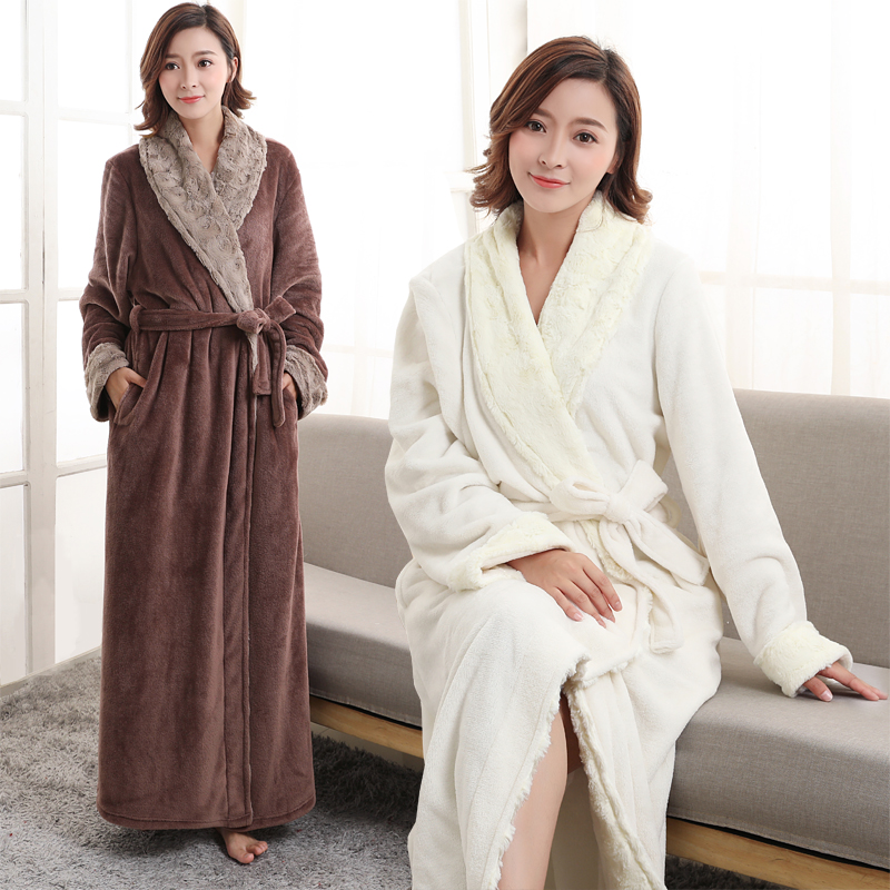 12fb47f5a6 Women Men Extra Long Thermal Flannel Bathrobe Soft fur Kimono Bath Robe  Winter Bridesmaid Robes Sexy Peignoir Warm Dressing Gown-in Robes from  Underwear ...