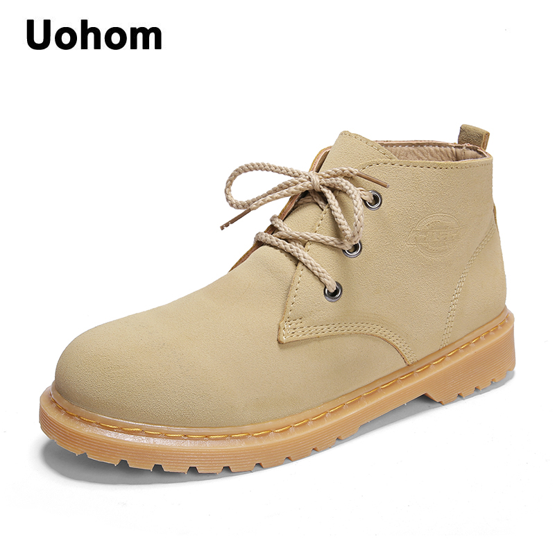 Uohom Winter Cow Suede Leather Men Boots Waterproof Snow Boots Solid Lace-Up Suede Ankle Boots Comfortable Men Motocycle Shoes suede ankle snow boots