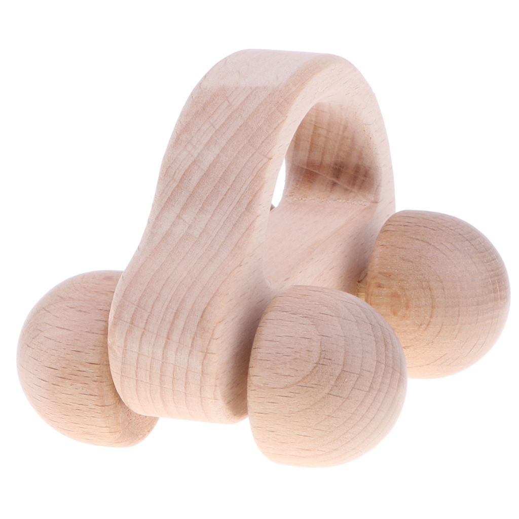 Montessori Infant Toy Wooden Baby Rattle Educational Grasping Teether Clutching Teething Toys Crib Musical Shaker Car Rattle