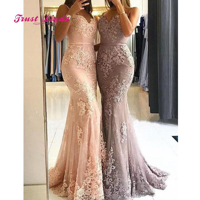 Pink Bridesmaid Dress Spaghetti Straps Mermaid Lace Wedding Party Dress Bruidsmeisjes Jurk Women