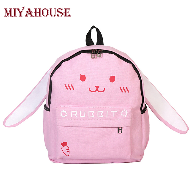 Miyahouse Students Cute Pink Rabbit Shoulder Schoolbag Teenagers Girls  Fashion Cartoon Style Canvas Backpack Children Travel 33072c453bb04
